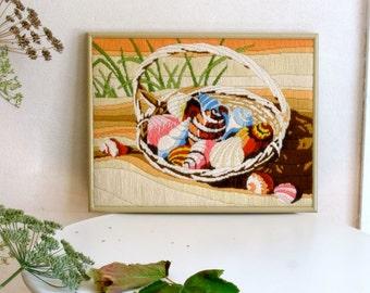 Vintage Needlepainting in Frame Seashells in a Basket