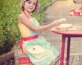 Girls Apron, Organic Cotton, Vintage 30's Style Apron,  Aqua Circles, Toddler & Kids Sizes 1-6