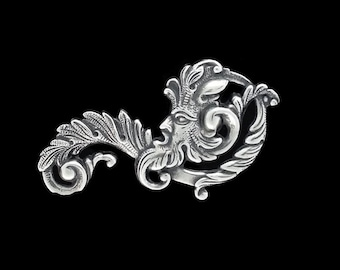 Green Man Fancy Leaf Scroll Filigree Silver Plated Brass Stamping Father Time 55mm x 30 mm- Right Side Made in the USA