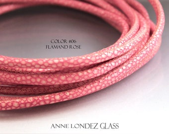1 ft  pink 4mm leather cord, printed goat leather, imitation stingray leather, stringing supplies round cord 4 mm