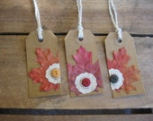 Fall Leaf Gift Tags Set of 6 Leaf Doily Button Gift Tags