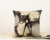 Black, Ivory and Champagne Ring Bearer Pillow - Classic Wedding