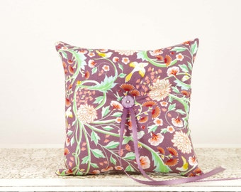 Purple and Orange Floral Ring Bearer Pillow