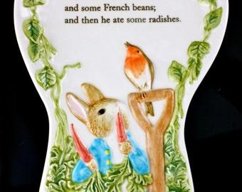 Vintage Beatrice Potter Peter Rabbit Porcelain Wall Hanging