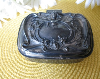 SALE Art Nouvean Footed Jewelry Trinket Box