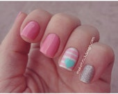 Hearts and Strips Combo Pack Nail Decal- You choose colors- Nail Vinyls
