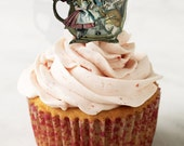Alice in Wonderland cupcake toppers instant download DIY