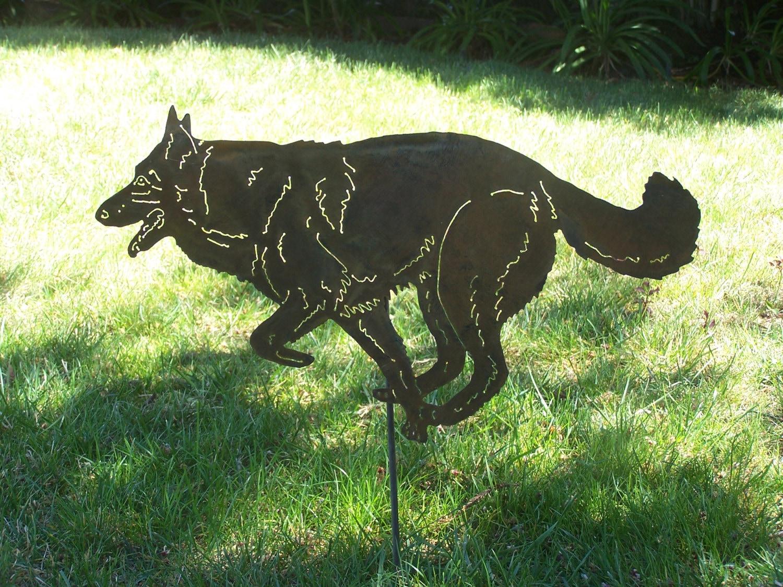 German Shepherd garden stake memorial pet marker yard art