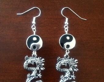Taijitu Yin Yang Dragon earrings