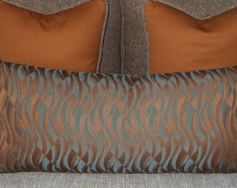 Pillow Oblong Contemporary 12 x 26 Brown Blue Feather Insert