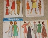 "4 60s 70s Vintage Sewing Patterns Size 12 Bust 32"" Simplicity 8154 7460 5294 8541 60s 70s Pantsuit Shift Dress Maxi"