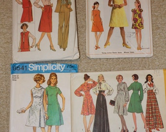 "4 60s 70s Vintage Sewing Patterns Size 12 Bust 32"" Simplicity 8154 7460 5294 8541 60s 70s Pantsuit Shift Dress Maxi"