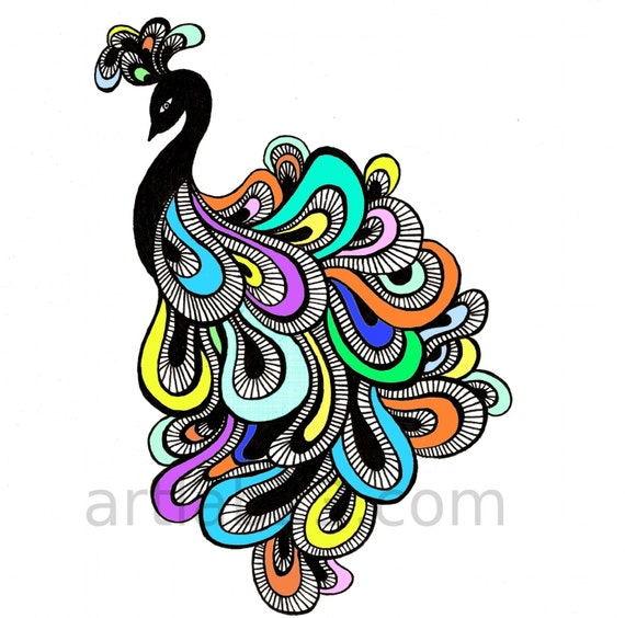 Items similar to Peacock Art Print - 8x10 - bird feathers drawing ...