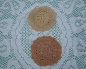 Vintage Cream and Tan Crocheted Doilies - Vintage style for your Home.