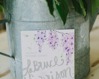 Lavender Wisteria Watercolor Wedding Invitation Suite as seen on the Ruffled Blog