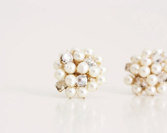 Wedding Jewelry Pearl and Rhinestone Cluster Stud Bridesmaid Earrings