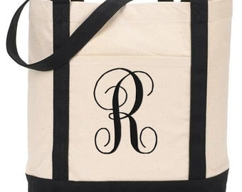 SALE Monogrammed Tote Bag Personalized Custom Embroidery
