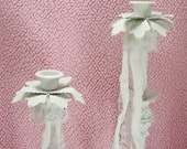 Pair of White Metal Candle Sticks Shabby Style