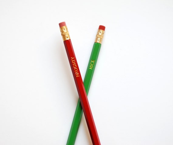 Pencils - Stocking Stuffer - Christmas Stocking Stuffer - Naughty or Nice - Christmas Pencils - Gift Under 10 - Red and Green Pencils