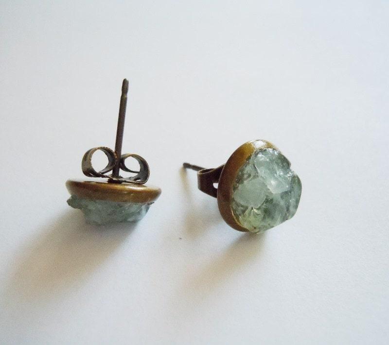 Aquamarine Gemstone Earrings: Aquamarine Stud Earrings Natural Raw Gemstone By NaturalGlam