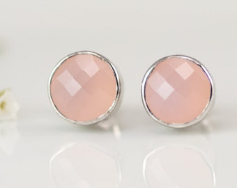 Pink Chalcedony October Birthstone Stud Earrings, Sterling Silver Studs, Stone Jewelry, Gemstone Post Earrings, Round Studs, Gift for Her