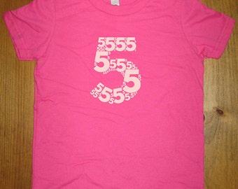 5th Birthday Shirt - 5 year old shirt - 5th Birthday - Number Shirt Birthday Boy, Birthday Girl - Party - Kids Tshirt Size 6 - Gift Friendly