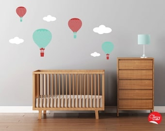 Hot Air Balloons Wall Decals Large Chevron Pattern Nursery Decal Set Clouds