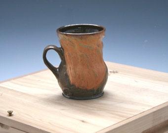 Handmade Coffee Mug 23, Ceramic Gold Mug, Golden Pottery Mug, Rustic Clay Mug