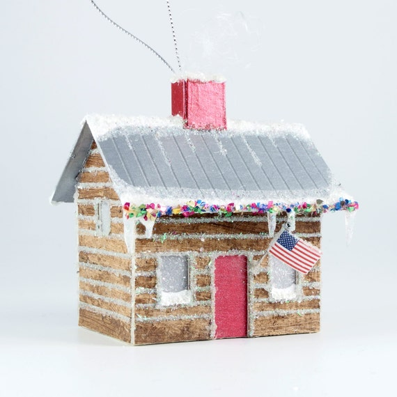 Christmas Village Glitter House Putz Ornament Log Cabin