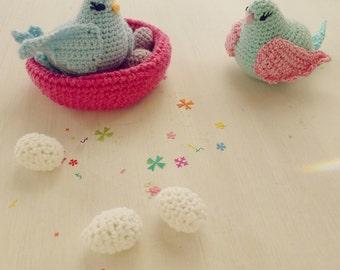 Bird amigurumi Crochet Pattern - birds, nest egg, baby mobile tiny crochet - Instant DOWNLOAD