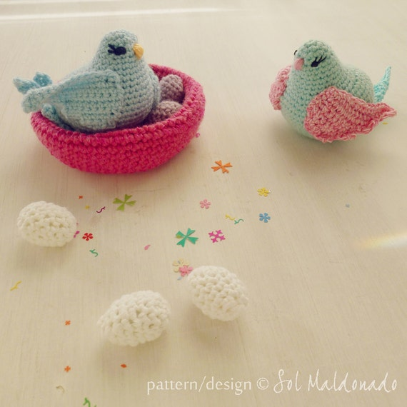 Crochet amigurumi birds, nest and eggs pattern - toy, amigurumi and baby mobile kids decor - Instant DOWNLOAD