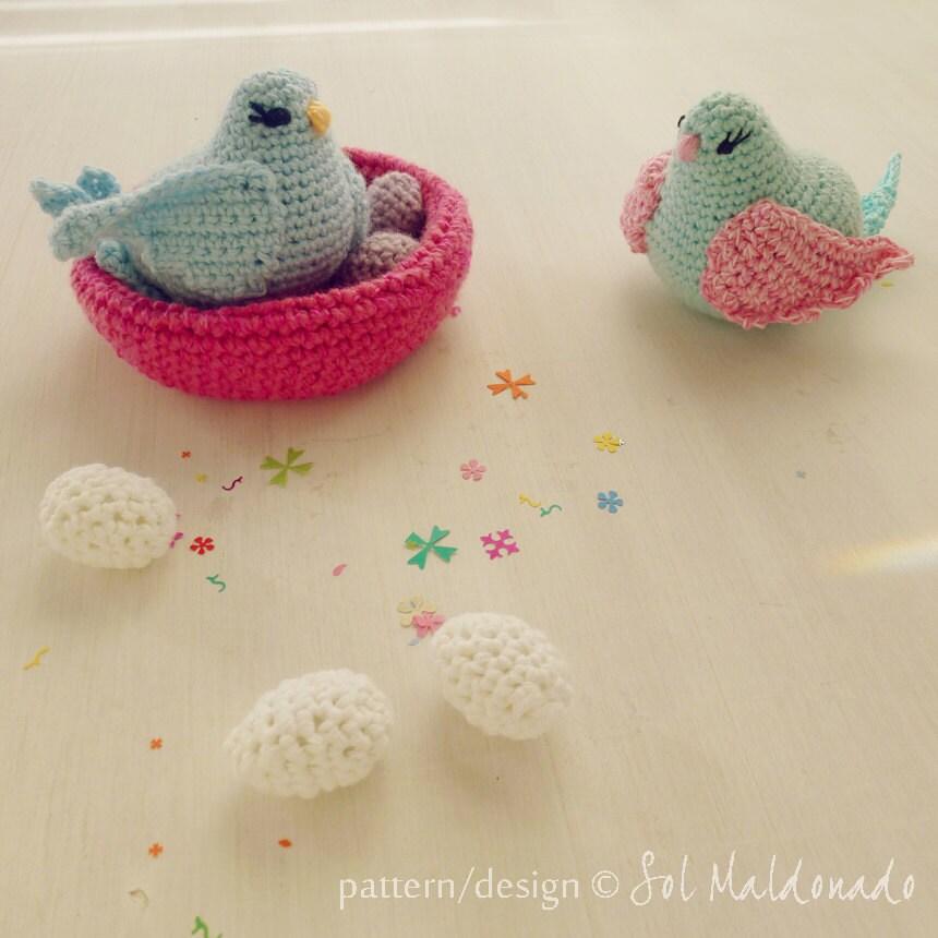 Bird amigurumi Crochet Pattern birds nest egg baby mobile
