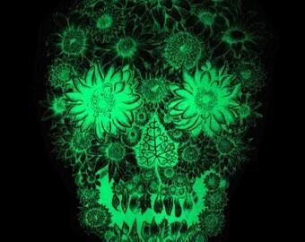 Glow In The Dark/Mint Flower Skull Screen Print 18x24