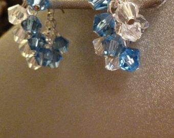 Blue and Clear Stud Hoop Earrings