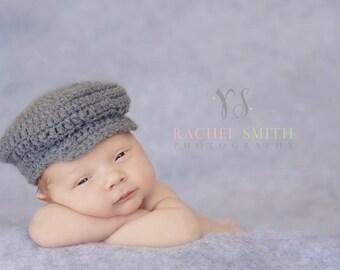 Newsboy Hat, Crochet Newsboy Cap, Baby Boy Hats, Baby News Cap, Drivers Cap,  Infant Hat, Baby Boy Props