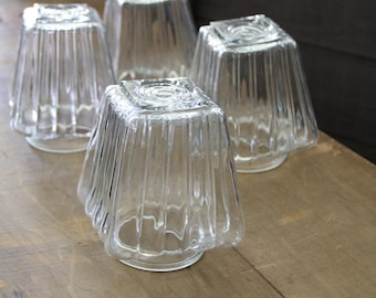 vintage set glass light shades, 4 piece fitter shades