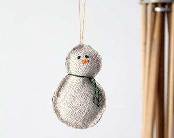 Snowman Christmas Ornament, homespun linen and denim