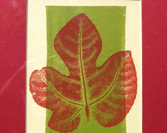 "Fig leaf print, hand-pulled print of fig leaf, original botanical art, 8"" x10"" red & green decor, direct relief print, nature print"