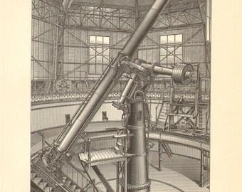 1908 Great Refractor, Pulkovo Astronomical Observatory Original Antique Engraving to Frame