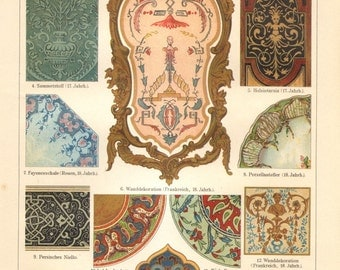 1909 Ornaments from the 17th-18th Century and Asia Original Antique Chromolithograph to Frame