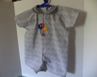 Infant Boys Zig Zag Romper Shades of Gray and White--Balloon Applique -- Newborn Size. Ready to Ship, Sample Sale