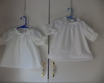 White Peasant Blouse, Long or Short Sleeves, Sizes Infants Newborn to 18 months  Made to Order