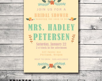 Rustic Vintage Floral Bridal Shower Invitation - Print Order Deposit or Digital File Setup for DIY Printing
