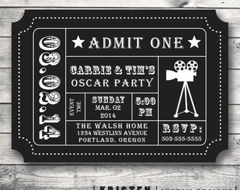 Oscar Party Invitation, Movie Night Party, Movie Ticket, Admission Ticket Stub, Digital File for DIY Printing