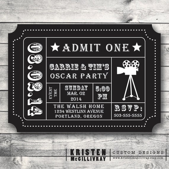 oscar party invitation movie night party by kristenmcgillivray