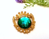 Vintage Brooch, Crown Design, Elegant, Huge Green Faux Emerald, Lucite, Cast Goltone Metal, 1980s Vintage Pin