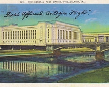New General Post Office- 1930s Vintage Postcard- Philadelphia, Pennsylvania- Delivered by Autogiro- Experimental Mail Route- Paper Ephemera