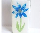 Blue Paper Decoupage Flower On Glass Pin