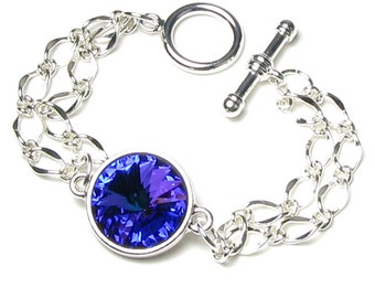 Swarovski Crystal Blue Heliotrope Rivoli Silver Finish Chain Bracelet, 18mm Round Link, Heart of the Ocean Deep Blue Romantic Gift For Women