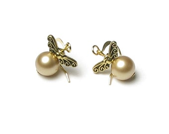 Golden Snitch Earrings, Magical Golden Wing Swarovski Pearl Earrings, Gold Pearl Earrings, Golden Snitch Jewelry, Christmas Gifts Under 20